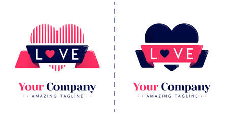 Love logos with lines and solid themes with ribbons and love letters. Templates can be used for corporate, dating apps, events, poster, brochure, wedding invitation, valentine card, website, banner Standard-Bild - 154016334