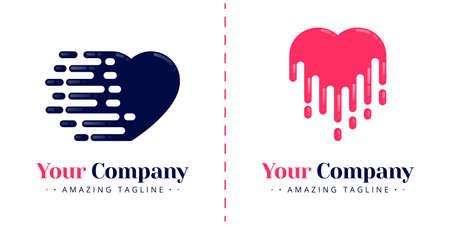Love logo to symbolize bleeding, melting, speed and falling down. Templates can be used for corporate, dating apps, business, events, poster, brochure, invitation, greeting card, website, banner