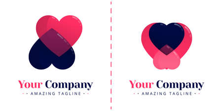 The love logo with two opposing hearts and inverted nature. Templates can be used for corporate, dating apps, business wedding events, poster, brochure, wedding invitation, card, website, banner