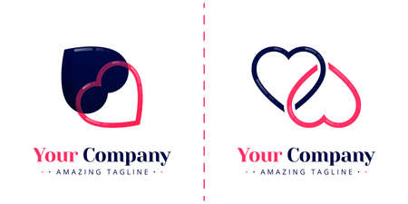 The two logos love sideways and are connected to each other. Templates can be used for corporate, apps, events, poster, brochure, wedding invitation, valentine greeting card, website, banner Illustration