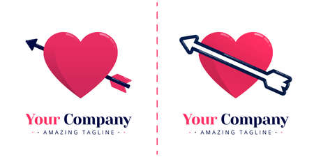 Love logo with the symbol of a heart pierced by an arrow for valentine and marriage. Templates can be used for corporate, apps, business, events, poster, brochure, invitation, card, website, banner Standard-Bild - 154016338