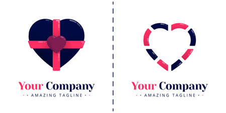 Love logo with the theme of anniversary gifts and line dash. Templates can be used for corporate, dating apps, business wedding events, poster, brochure, wedding invitation,  card, website, banner