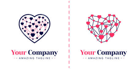 Love logos with connected and networked themes for apps, galaxy and technology. Templates can be used for corporate, apps, business, events, poster, brochure, invitation, card, website, banner Standard-Bild - 154016340