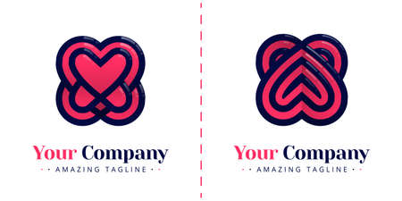 Love logos with overlapping, layered, and opposite hearts. Templates can be used for corporate, apps, business, events, poster, brochure, wedding invitation, valentine greeting card, website, banner