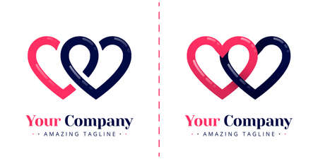 Double love logo for connected and infinity relationships. Templates can be used for corporate, dating apps, business wedding events, poster, brochure, wedding invitation, card, website, banner Standard-Bild - 154016342