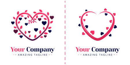 Love logo with the theme of flora and nature. Heart-shaped plant tendrils to symbolize unity. Templates can be used for corporate, apps, business, events, poster, brochure, invitation, card, banner Illustration