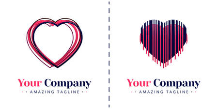 Love logos with overlapping themes and love logos with heart shaped and collapsed lines. Templates can be used for corporate, dating apps, events, poster, brochure,  invitation, card, website, banner