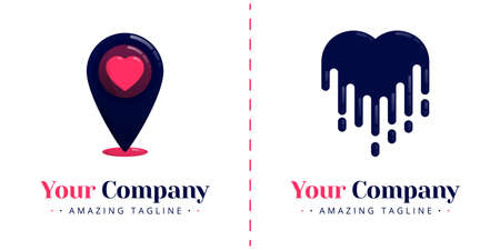Love logos for online apps with the theme of location and pin, as well as love logos that are melted falling. Templates can be used for corporate, apps, events, poster, invitation, card, banner