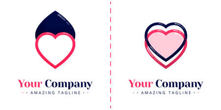 Logos of two hearts that oppose each other and overlap with lines and transparency. Templates can be used for corporate, apps, business, events, poster, brochure, invitation, valentine website, banner Illustration