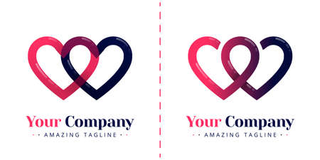 Double love logo for connected and infinity relationships. Templates can be used for corporate, dating apps, business wedding events, poster, brochure, wedding invitation, card, website, banner Standard-Bild - 154060734