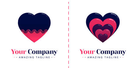 Stacked love logos and love logos with waves. Templates can be used for corporate, dating apps, business wedding events, poster, brochure, wedding invitation, valentine greeting card, website, banner