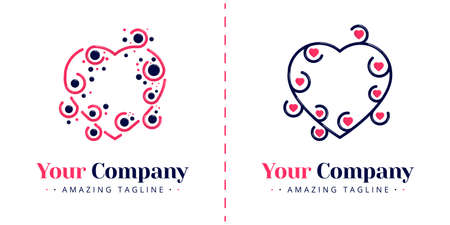 Abstract love logos with tendrils and connected dots. Templates can be used for corporate, dating apps, events, poster, brochure, wedding invitation, valentine greeting card, website, banner