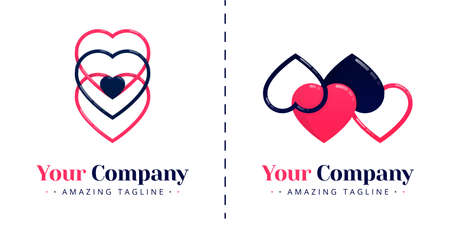 Love logo with 4 hearts connected and love logo with 3 hearts stacked with a small heart in the middle. Templates can be used for corporate, apps, events, poster, brochure, invitation, card, banner Illustration