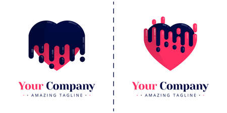 Love logo with the theme of melting and bleeding, melt falling down and up. Templates can be used for corporate, dating apps, events, poster, brochure, invitation, valentine card, website, banner