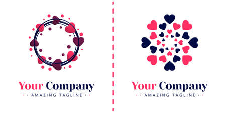 Love logo with the theme of plants and nature with centering and circular flora patterns. Templates can be used for corporate, dating apps, events, poster, brochure, invitation, card, website, banner