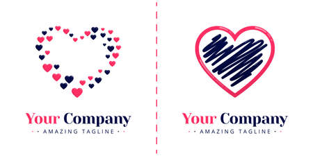 Love logos for valentine and wedding. Templates can be used for corporate, dating apps, business, wedding events, poster, brochure, wedding invitation, valentine greeting card, website, banner