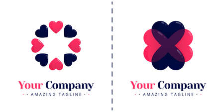 The love logo with the theme of 8 rotating hearts and the four-leaf clover shaped love logo for good luck. Templates can be used for corporate, apps, events, poster, brochure, invitation, card, banner Standard-Bild - 154060745