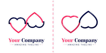 The logos of two hearts that are connected to symbolize the union of love and infinity. Templates can be used for corporate, apps, business, events, poster, brochure, invitation, card, website, banner Illustration