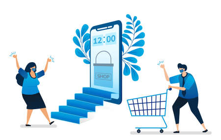 Vector illustration of online shopping with new normal health protocol with mobile apps, virtual mobile store. Can be used for website, web, mobile apps, flyer, background, element, banner, template