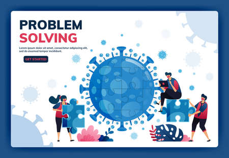 Landing page vector illustration of teamwork and brainstorming to solve problems and find solutions during the covid-19 virus pandemic. Symbol of collaboration, virus, puzzle. Web, website, banner Illustration