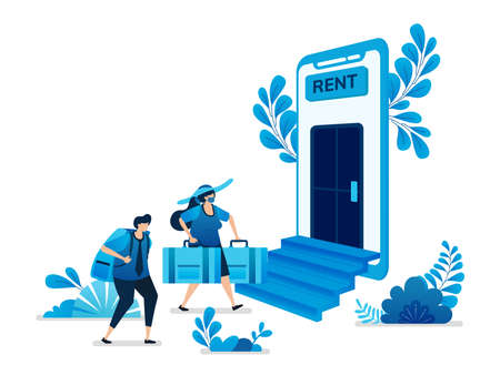 Vector illustration of home and apartment rental mobile apps. Cheap trips and backpacking vacation traveling. Can be used for landing page, website, web, mobile apps, flyer banner, template, poster Standard-Bild - 157090390