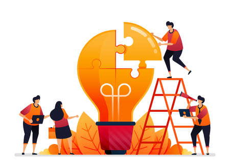 Vector illustration of solve problems and find solutions with teamwork. Share ideas with brainstorming. Graphic design for landing page, web, website, mobile apps, banner, template, poster, flyer Standard-Bild - 157090392