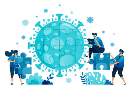 Vector illustration of teamwork and brainstorming to solve problems and find solutions during the covid-19 virus pandemic. Symbol of collaboration, virus, puzzle. Landing page, web, website, banner