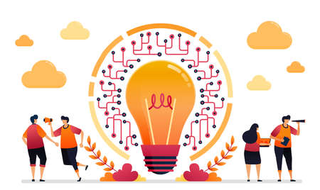 Vector illustration of idea and inspiration for network. Connection and accessibility in IOT technology. Graphic design for landing page, web, website, mobile apps, banner, template, poster, flyer
