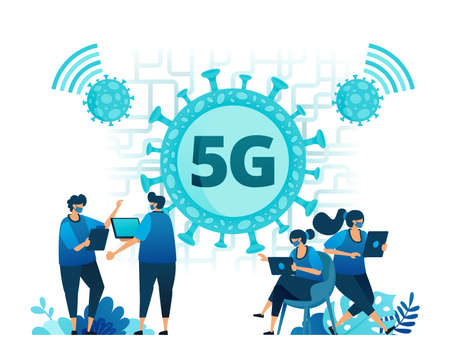 Vector illustration of 5g internet connection to support activities during the covid-19 virus pandemic. Symbols and icons of viruses, networks, wifi, connections. Landing page, web, website, banner Standard-Bild - 157090403