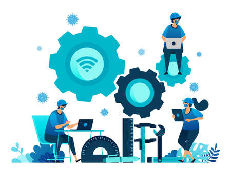 Vector illustration of vocational education scholarships and e-learning to support human resources during the covid-19 virus pandemic. Symbols of machines tools. Landing page, web, website, banner