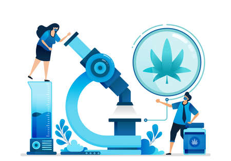 Cannabis vector illustrations. Research and development of ganja for education, health and commercial medicine. Can be used for landing page, website, web, mobile apps, flyer banner, template, poster