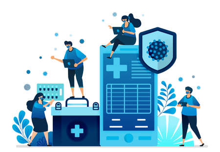Vector illustration of hospital health service applications and mobile clinics for handling covid-19 pandemic. Can be used for landing page, website, web, mobile apps, flyer banner, template, poster Standard-Bild - 157090427