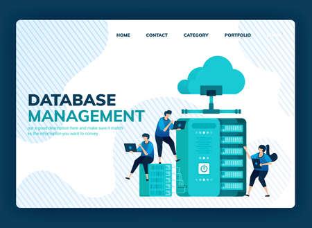 Vector illustration for database management system for data storage, backup, hosting, server, cloud service provider. Design can be used for landing page, template, ui ux, web, website, banner, flyer