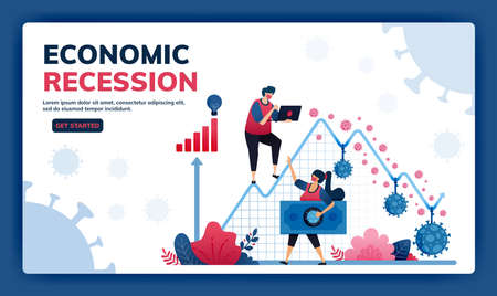 Landing page vector illustration of failure and negative economic growth due to covid-19 or corona virus. Depression, inflation and corporate bankruptcy due to pandemic.  Web, website, banner, apps Standard-Bild - 157090430