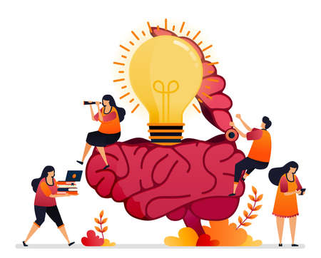 Vector illustration of looking for ideas, solution, opening your creative mind. brain symbol of inspiration. Graphic design for landing page, web, website, mobile apps, banner, template, poster, flyer Illustration