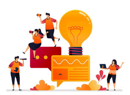 Vector illustration of looking for inspiration and ideas in talks, chat, talk, dialog and brainstorming. Graphic design for landing page, web, website, mobile apps, banner, template, poster, flyer