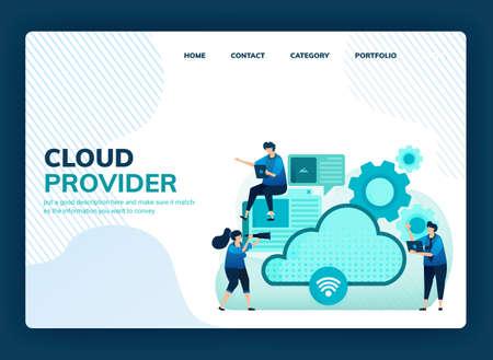 Landing page vector illustration for cloud provider for network, internet connection, communication, hosting server, data center. Design can be used for template, ui ux, web, website, banner, flyer 向量圖像