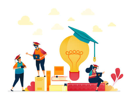 People in graduation caps, stacks of books, light bulb. Stationery for school and learning students. Ideas from reading. Vector illustration for website, mobile apps, banner, template, poster, flyer