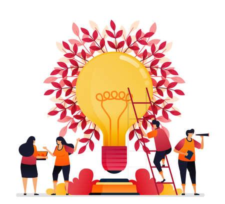 Vector illustration of inspiration for teamwork, communication, illumination, brainstorming and knowledge. Graphic design for landing page, web, website, mobile apps, banner, template, poster, flyer Standard-Bild - 157090444