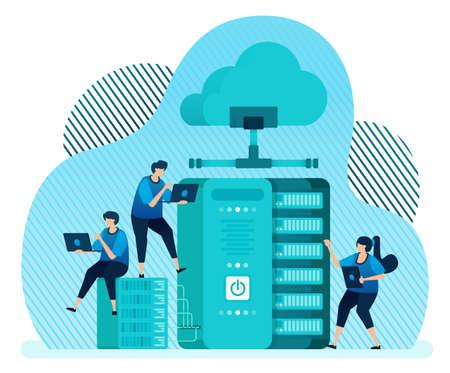 Vector illustration template for database management system for data storage, backup, hosting, server, cloud service provider. Design can be used for landing page, ui ux, web, website, banner, flyer 向量圖像
