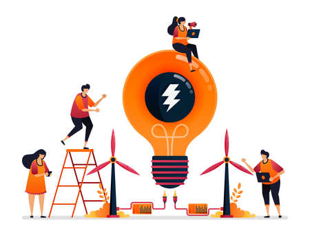 Vector illustration of alternative energy and sustainable natural power for idea creativity of electricity. Graphic design for landing page, web, website, mobile apps, banner, template, poster, flyer Illustration