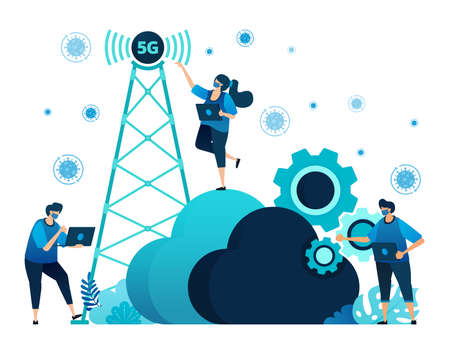 Vector illustration of 5g infrastructure and internet network connections for activities and work during covid-19 virus pandemic. Symbol of cloud, engine, hosting. Landing page, web, website, banner Standard-Bild - 157090451