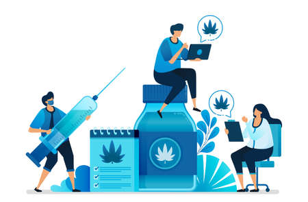 Cannabis and marijuana illustrations for research for health. Ganja is health commodities, drug, oils and herbs. Can be used for landing page, website, web, mobile apps, flyer banner, template, poster Standard-Bild - 157090454