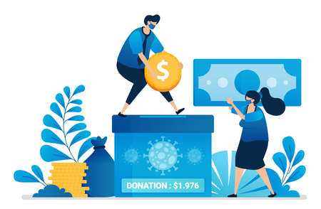 Vector illustration of donation money for handling covid-19. Charity for the economy of people affected by the pandemic. Can be used for website, web, mobile apps, flyer, banner, template, poster