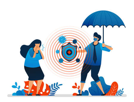 Vector illustration of health protection and financial security with insurance, outbreaks of covid-19 pandemic. Can be used for website, web, mobile apps, flyer, background, element, banner, template Standard-Bild - 157090458