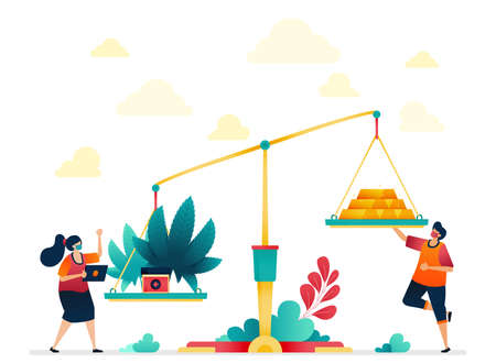 The metaphor of cannabis value is more than gold. Economics on gold and marijuana. Expensive traditional medicine with herbs. Vector illustration for website, mobile apps, banner, template, poster