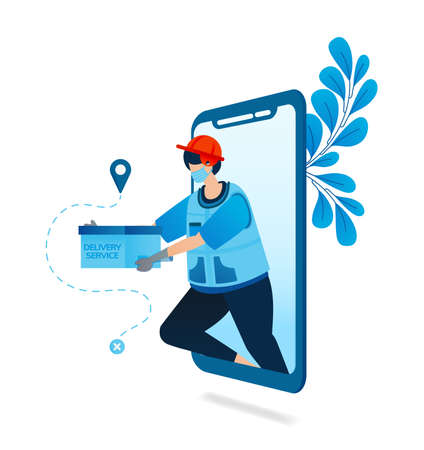 Vector illustration of delivery service application with health protocol. Food courier for delivery at the covid-19 pandemic. Can be used for website, web, mobile apps, flyer banner, template poster Standard-Bild - 157090462