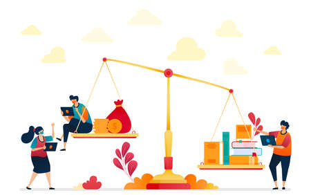 Burden of education costs which are metaphor by scales, books and coins or money. High-cost education, investing in education. Vector illustration for website, mobile apps, banner, template, poster Stok Fotoğraf - 157090465