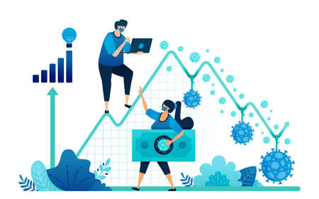 Vector illustration of failure and negative economic growth due to covid-19 or corona virus. Depression, inflation and corporate bankruptcy due to pandemic. Landing page, web, website, banner, apps