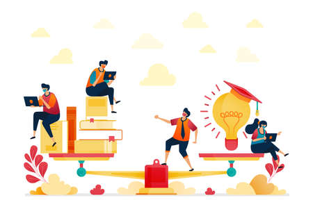 Balance between reading and ideas. Stacks of books and light bulbs for inspiration and education. Graduated from university. Vector illustration for website, mobile apps, banner, template, poster Standard-Bild - 157090470